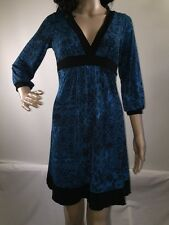 Ruby Rox Dress Bright Blue and Black Floral Print Stretchy BOHO Casual - Small