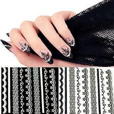 30 Fogli 3D Pizzo Nail Art Adesivi Nero E Bianco DIY Tips Manicure Attrezzi IP