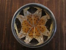 """2 3/4"""" BRASIL BUTTERFLY WING MOSAIC DECORATIVE PLATE"""