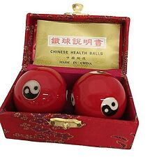 Baoding Balls Chinese Health Massage Exercise Stress Balls - Red YinYang #3