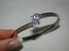 Vintage Sterling Silver 925 Heart Shaped Amethyst Bypass Bangle Bracelet
