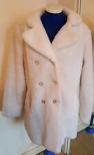 WHITE FAUX FUR DOUBLE BREASTED BUTTONED TEDDY BEAR COAT SIZE 10