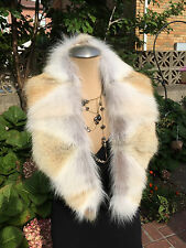 NATURAL COYOTY FUR COLLAR MINI STOLE SHAWL WRAP Made in the USA
