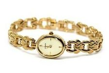 YEMA OF FRANCE GOLD STAINLESS STEEL DECORATIVE BAND OVAL FACE DRESS WATCH
