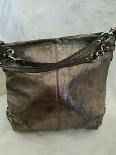 Coach 17165 Brooke Silver Gunmetal Metallic Pewter Leather Satchel Hobo ✨PRETTY✨