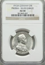 1913 Prussia(Germany)Silver 2 mark Kaizer Willhelm-military uniform-NGC AU 58