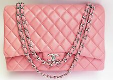 Auth Chanel Classic Flap 2.55 Maxi Jumbo pink Lamb Hand Shoulder Bag Purse #4034