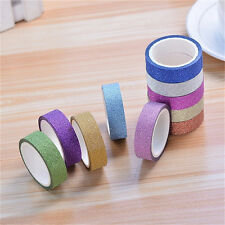 10pcs Glitter Washi Paper Adhesive Tape  Craft Sticker Masking Decor 1.5cmx3mLWY