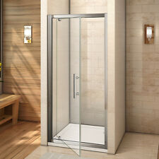 Aica Walk in 900x760mm Pivot Hinge Shower Door Enclosure and Tray Safety Glass