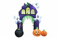 9 Foot Halloween Inflatable Ghost Castle Archway with Pumpkins Yard Decoration