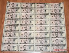 FULL 2013 $5 UNCUT SHEET 5 x 32 FIVE DOLLAR BILLS UNITED STATES CURRENCY MONEY