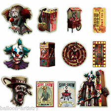 12 Halloween CREEPY CARNIVAL Circus Party Sinister SIDE SHOW Cutouts Decorations