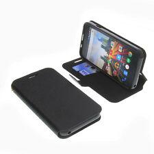 Tasche f. Archos 50 Helium Plus Smartphone BookStyle Schutz Hülle Buch Schwarz
