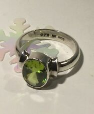 Designer Faceted Bezel-set 2ct Peridot 925 Sterling Silver Ring Sz6 3.6g Signed
