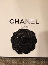 Chanel Black Glitter Camellia Flower