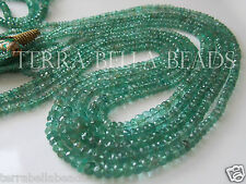 """7"""" half strand natural ZAMBIAN EMERALD faceted rondelle beads 2mm - 3.5mm GREEN"""
