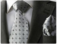 NEW ITALIAN DESIGNER GREY PATTERNED SILK TIE & HANKY