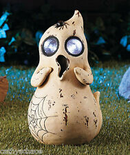 Solar Ghost Spot Light Eyes Spider Head Halloween Ceramic Garden Yard Art Statue