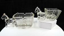 "K R HALEY CLEAR PRESSED GLASS 2 PC HORSE & CART 4.5"" & 6 1/2"" CANDY CONTAINERS"