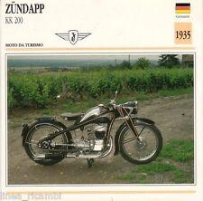 Scheda moto plastificata ZUNDAPP KK 200 - Moto da Turismo - 1935