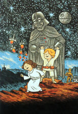 STAR WARS REPRO FILM MOVIE POSTER . SKYWALKER FAMILY BY JEFFREY BROWN . NOT DVD