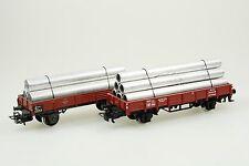 Märklin 4473 und 4503 2x Niederbordwagen mit Rohrladung