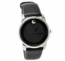 Movado Museum 0606502 Quartz Black Dial Black Leather Band Mens Watch