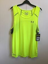 Mens Under Armour UA ColdBlack Run Singlet Running Vest - Large - Yellow - BNWT