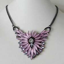 Statement Frosted Pink Bead Clear Crystal Hematite Grey Colour Necklace