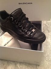BALENCIAGA ARENA BLACK CREASED LEATHER LOW TOP MEN SNEAKERS SIZE 41