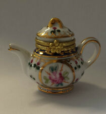 Couronne en porcelaine motif Normandie tea pot pilule Box - 313
