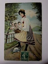 K595 - c1908 - MULTIPLE BABIES in a BASKET -  FRENCH POSTCARD