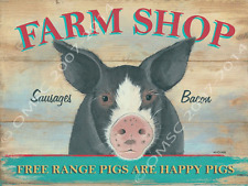 Farm Shop Metal Sign, Happy Pig, Farm, Retro Pub or Cafe Decor