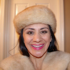 GORGEOUS EXQUISITE QUALITY SEXY  HONEY GOLDEN COLOR SABLE MINK HAT BY VITTORIO