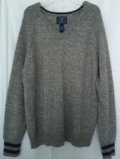 LUCKY BRAND L Men's Sweater Soft Gray Wool Alpaca Blend V Neck Pullover Large