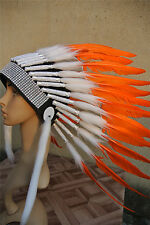 21inch orange indian feather headdress indian warbonnet american costume
