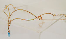 FANTASY GOLD CELTIC CIRCLET AQUAMARINE CRYSTAL LARP RENAISSANCE WEDDING ELVEN