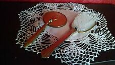 Metal & Nylon Hair Brush VTG Vanity Hand Mirror w Swivel Hinge MCM 1950's Deco