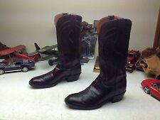 VINTAGE LUCCHESE USA BLACK CHERRY LEATHER WESTERN COWBOY RANCH BOSS BOOTS 8D