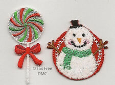 VAT Free Sew or Iron On Motifs Groves Christmas Characters Snowman & Candy New