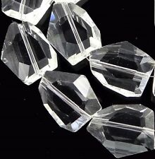 20x15mm Faceted Clear Glass Quartz Nugget Beads 14""