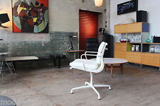 HERMAN MILLER EAMES ALUMINUM GROUP SIDE CHAIR PEARL MCL LEATHER