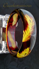 LOVELY VTG CLEAR DEEP AMBER HAND CARVED LEAF LUCITE ACRYLIC BANGLE BRACELET