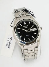 SEIKO Men Silver tone Automatic Watch Seiko 5 Black dial SNX997K New w Box
