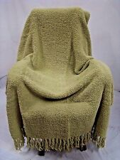 "Green Large Chenille Blanket Fringe Soft Thick Warm 70""L 50""W Winter Cozy Throw"