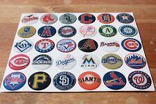 MLB 30 TEAMS ASSORTMENT Epoxy Sticker 1inch round 4 Bottle Cap Scrapbook Magnet