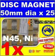 1X DISC Neodymium Rare Earth Magnets 50mm X 25mm N45