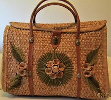 Vintage Vegan 60s Straw Huge Purse Basket Bag Faux Leather Handle Small Suitcase