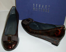 STUART WEITZMAN Tortoise Patent Mid Heel Wedge Court Shoes UK6.5 EU40 US9