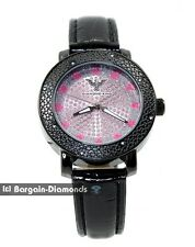 diamond ladies pink hearts black dress watch ice out black leather maxx king